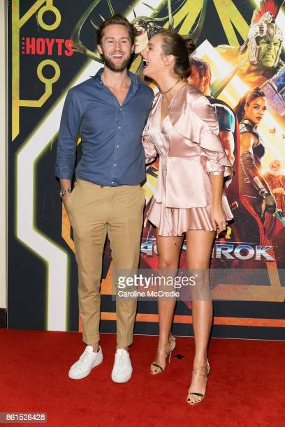 Dan Bragg and Ksenija Lukich attend the THOR RAGNAROK Sydney special event screening at Hoyts Entertainment Quarter Sydney Australia on October 15...