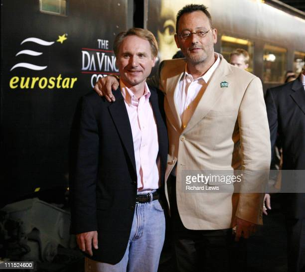 Dan Brown and Jean Reno during 2006 Cannes Film Festival 'The Da Vinci Code' Cast Arrival at Cannes Train Terminal at Cannes Train Station in Cannes...