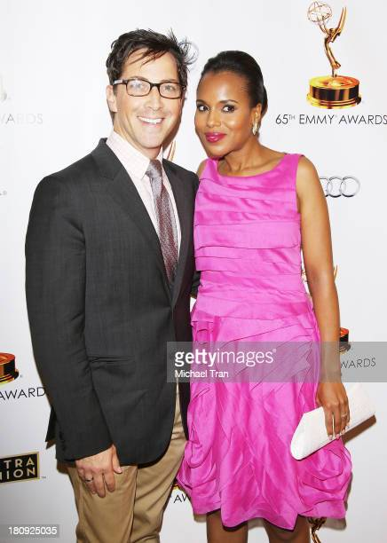 Dan Bucatinsky and Kerry Washington arrive at The Academy of Television Arts Sciences and SAGAFTRA celebrate The 65th Primetime Emmy Award Nominees...