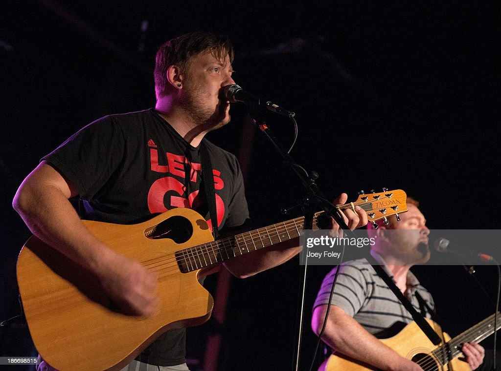 Dan Buckley and Andy Lundman of the rock band Peace Mercutio performs live in concert at The Emerson Theater on November 2, 2013 in Indianapolis, Indiana.