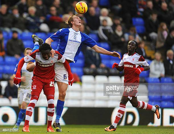 Dan Burn of Birmingham City and Kei Kamara of Middlesbrough in action during the Sky Bet Championship match between Birmingham City and Middlesbrough...