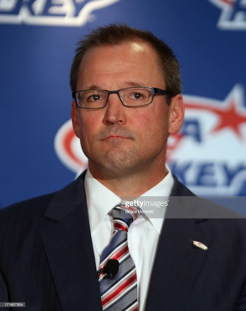 Dan Bylsma, head coach for the 2014 Men's Olympic Hockey Team is introduced at the Marriott Marquis Hotel on June 29, 2013 in New York City.