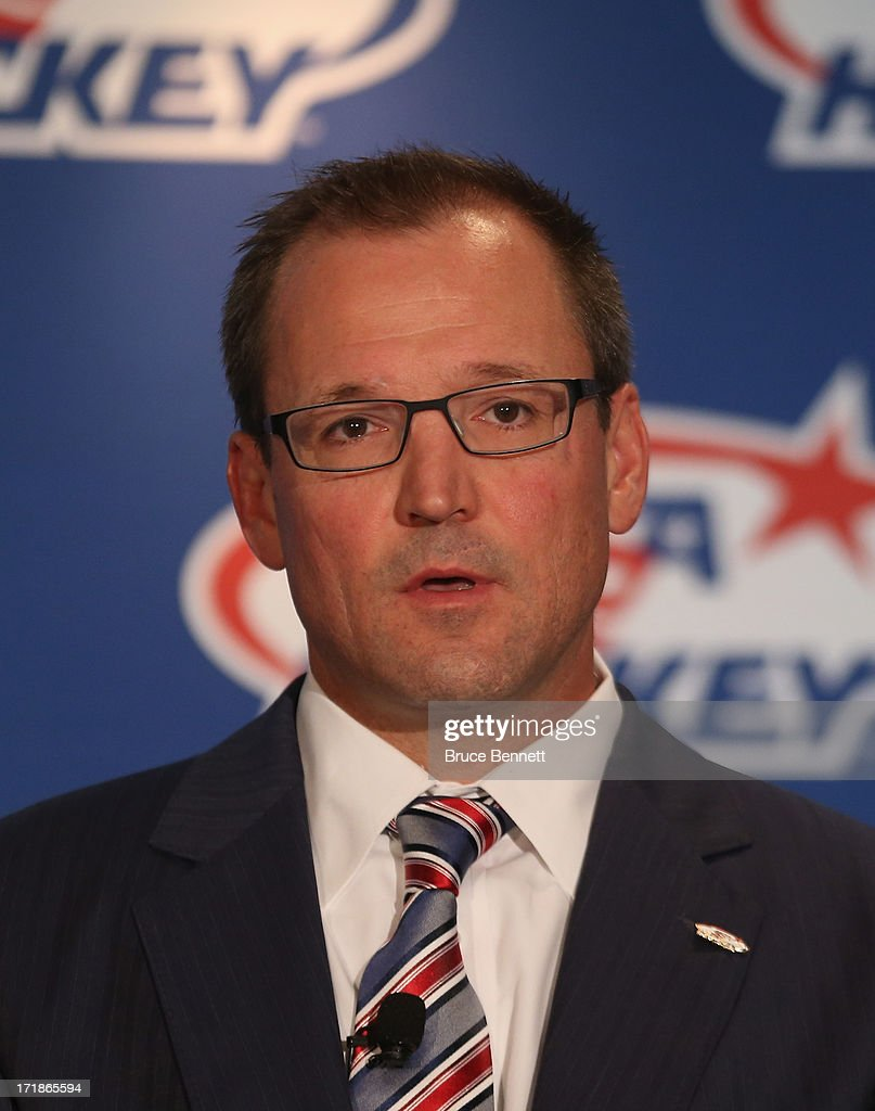 <a gi-track='captionPersonalityLinkClicked' href=/galleries/search?phrase=Dan+Bylsma&family=editorial&specificpeople=2221854 ng-click='$event.stopPropagation()'>Dan Bylsma</a> is named the head coach of the 2014 U.S. Olympic Men's Ice Hockey Team at the Marriott Marquis Hotel on June 29, 2013 in New York City.