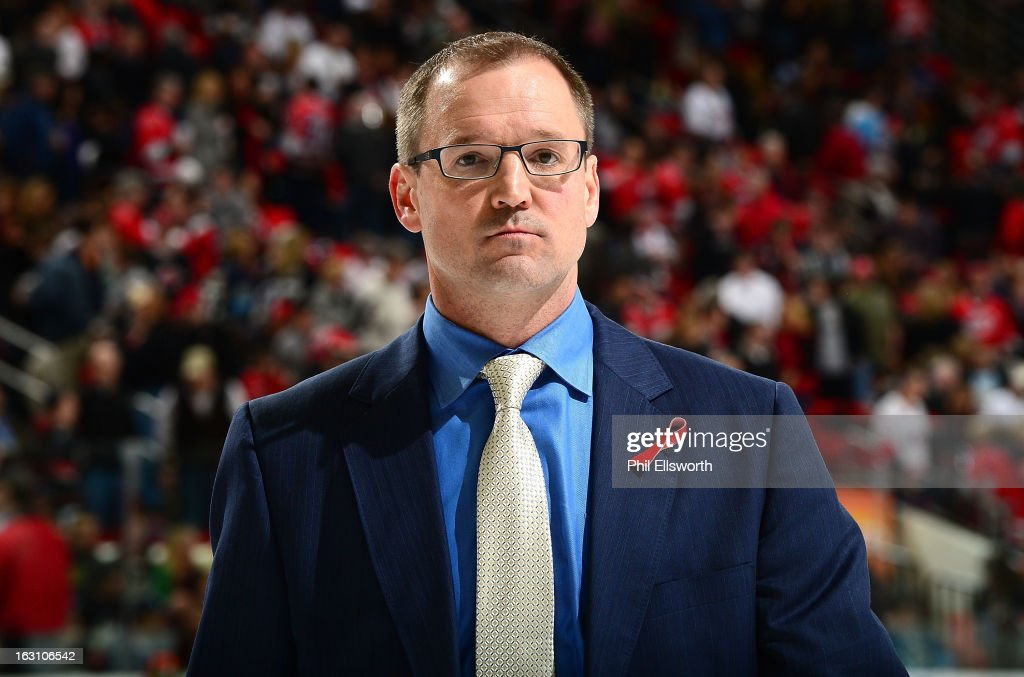 Dan Bylsma of the Pittsburgh Penguins walks off the ice during an NHL game against the Carolina Hurricanes on February 28, 2013 at PNC Arena in Raleigh, North Carolina.