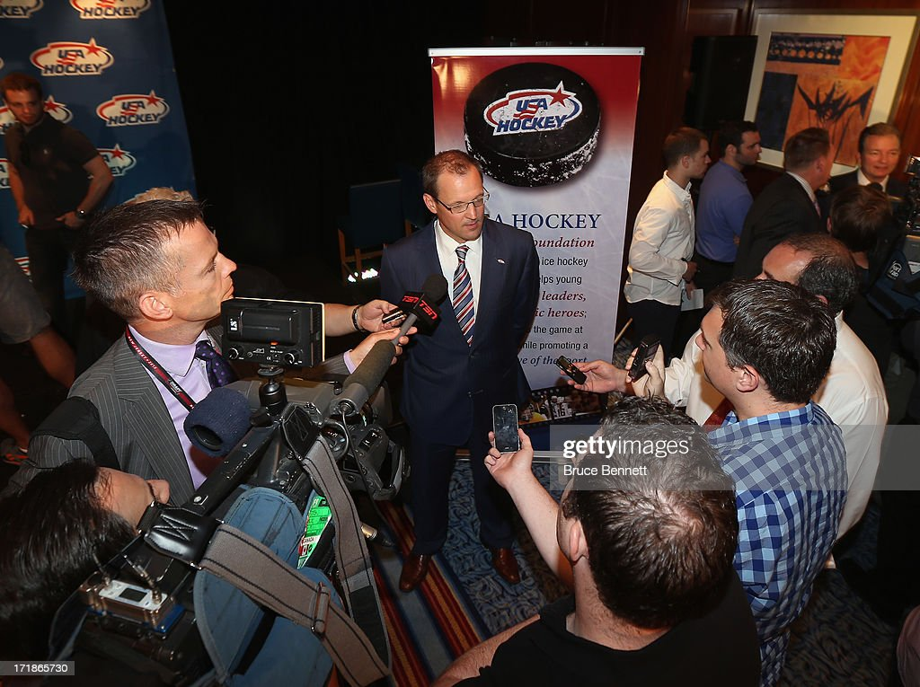 <a gi-track='captionPersonalityLinkClicked' href=/galleries/search?phrase=Dan+Bylsma&family=editorial&specificpeople=2221854 ng-click='$event.stopPropagation()'>Dan Bylsma</a> speaks with the media after being named the head coach of the 2014 U.S. Olympic Men's Ice Hockey Team at the Marriott Marquis Hotel on June 29, 2013 in New York City.