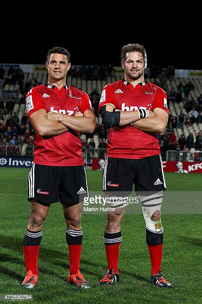 Dan Carter and Richie McCaw of the Crusaders pose after the round 13 Super Rugby match between the Crusaders and the Reds at AMI Stadium on May 8...