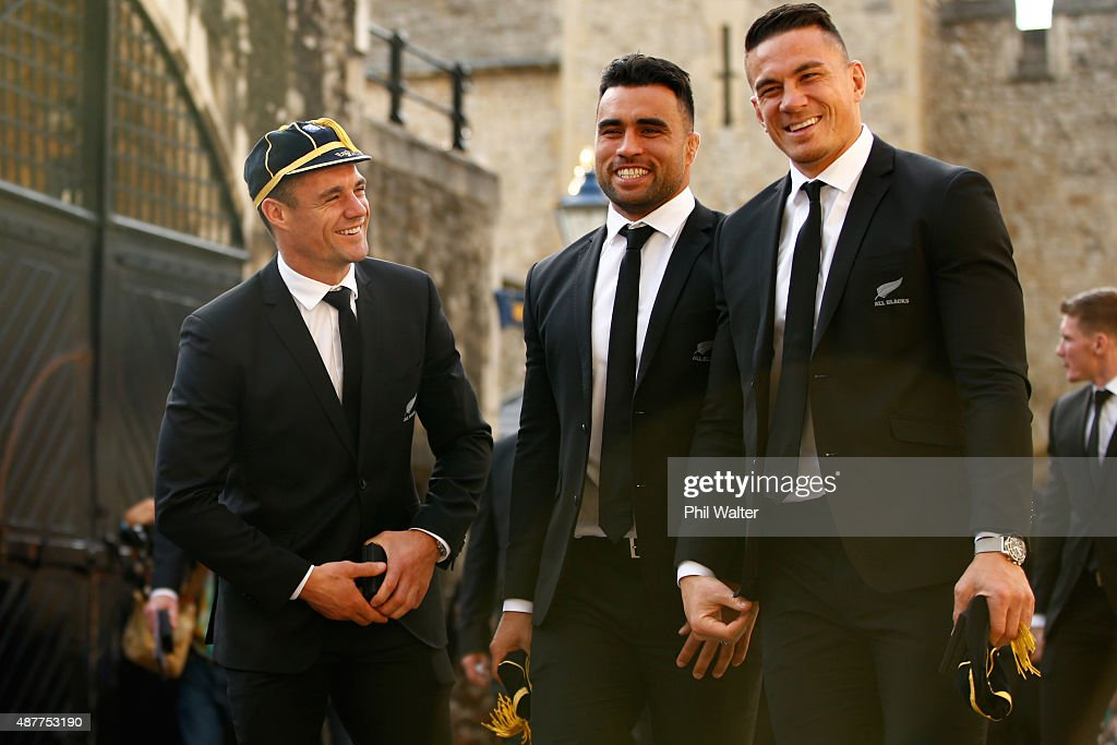 <a gi-track='captionPersonalityLinkClicked' href=/galleries/search?phrase=Dan+Carter+-+Rugby+Player&family=editorial&specificpeople=171299 ng-click='$event.stopPropagation()'>Dan Carter</a>, <a gi-track='captionPersonalityLinkClicked' href=/galleries/search?phrase=Liam+Messam&family=editorial&specificpeople=601526 ng-click='$event.stopPropagation()'>Liam Messam</a> and <a gi-track='captionPersonalityLinkClicked' href=/galleries/search?phrase=Sonny+Bill+Williams&family=editorial&specificpeople=204424 ng-click='$event.stopPropagation()'>Sonny Bill Williams</a> of the New Zealand All Blacks following their RWC 2015 Welcome Ceremony at the Tower of London on September 11, 2015 in London, England.