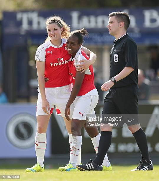 Dan Carter of Arsenal celebrates after scoring their seventh goal with team mate Dominique Janssen during the SSE Women's FA Cup Semifinal match...
