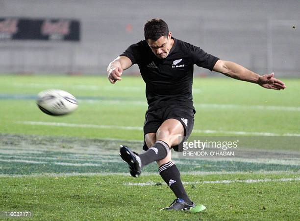 Dan Carter of New Zealand micks a penalty against South Africa during their rugby union Test match at the Eden Park in Auckland July 10 2010 AFP...