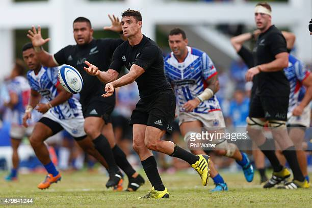 Dan Carter of the All Blacks passes the ball during the International Test match between Samoa and the New Zealand All Blacks at Apia Stadium on July...