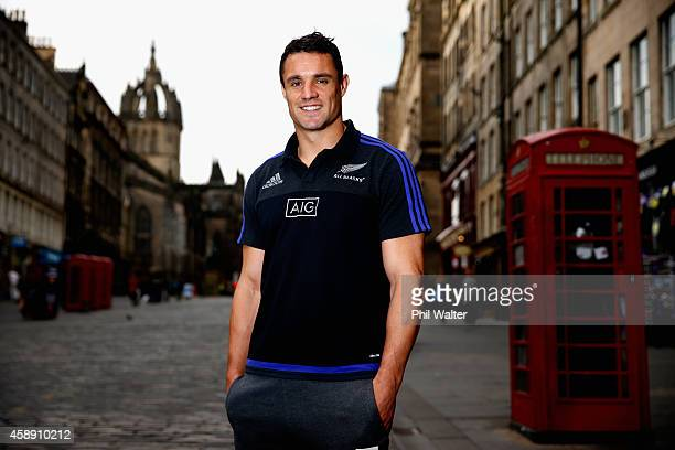 Dan Carter of the All Blacks poses for a portrait following a New Zealand All Blacks media session at the Radisson Blu Hotel on November 13 2014 in...