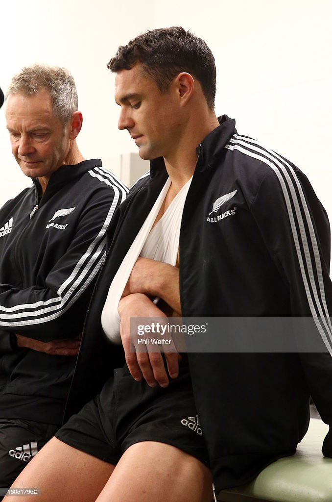 <a gi-track='captionPersonalityLinkClicked' href=/galleries/search?phrase=Dan+Carter+-+Rugby+Player&family=editorial&specificpeople=171299 ng-click='$event.stopPropagation()'>Dan Carter</a> of the All Blacks (R) sits with Dr Tony Page in the dressing room following The Rugby Championship match between the New Zealand All Blacks and the South African Springboks at Eden Park on September 14, 2013 in Auckland, New Zealand.