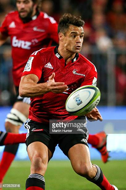 Dan Carter of the Crusaders looks to pass during the round 13 Super Rugby match between the Crusaders and the Reds at AMI Stadium on May 8 2015 in...