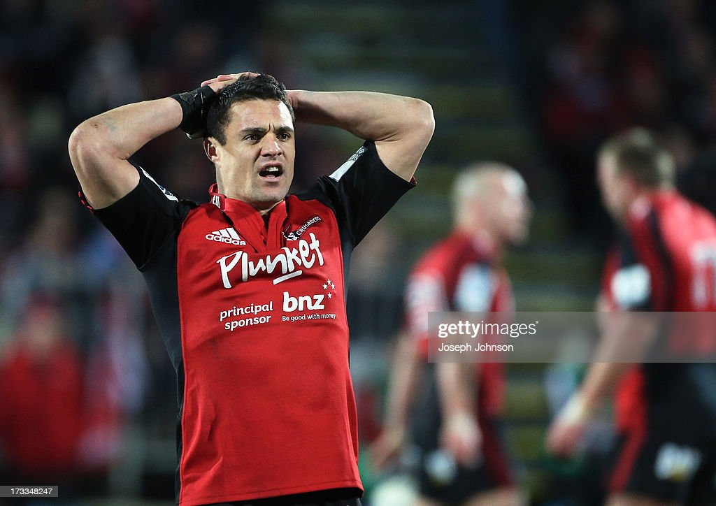<a gi-track='captionPersonalityLinkClicked' href=/galleries/search?phrase=Dan+Carter+-+Rugby+Player&family=editorial&specificpeople=171299 ng-click='$event.stopPropagation()'>Dan Carter</a> of the Crusaders reacts during the round 20 Super Rugby match between the Crusaders and the Hurricanes at AMI Stadium on July 12, 2013 in Christchurch, New Zealand.