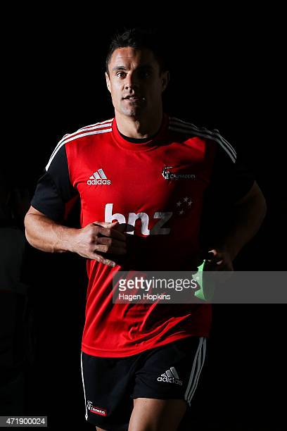 Dan Carter of the Crusaders takes the field to warm up during the round 12 Super Rugby match between the Hurricanes and the Crusaders at Westpac...