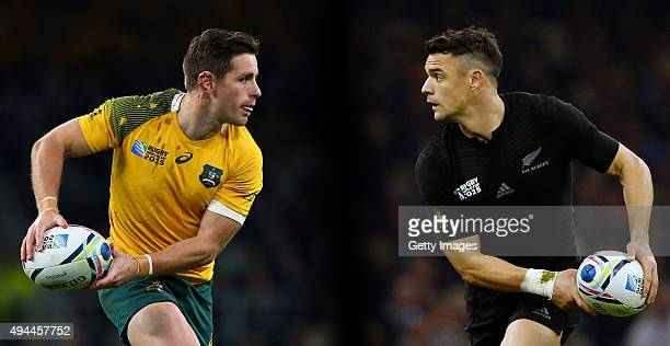 FILE PHOTO Image Numbers 494300374 and 491034980 In this composite image a comparison has been made between fly halfs Bernard Foley of Australia and...