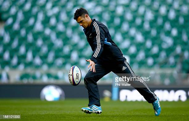 Dan Carter of the New Zealand All Blacks practices his kicking at the Twickenham rugby stadium on November 15 2013 in London England