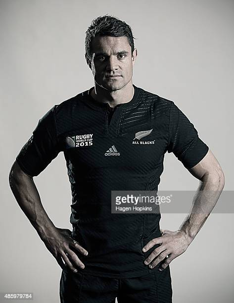 Dan Carter poses during a New Zealand All Blacks Rugby World Cup Squad Portrait Session on August 31 2015 in Wellington New Zealand
