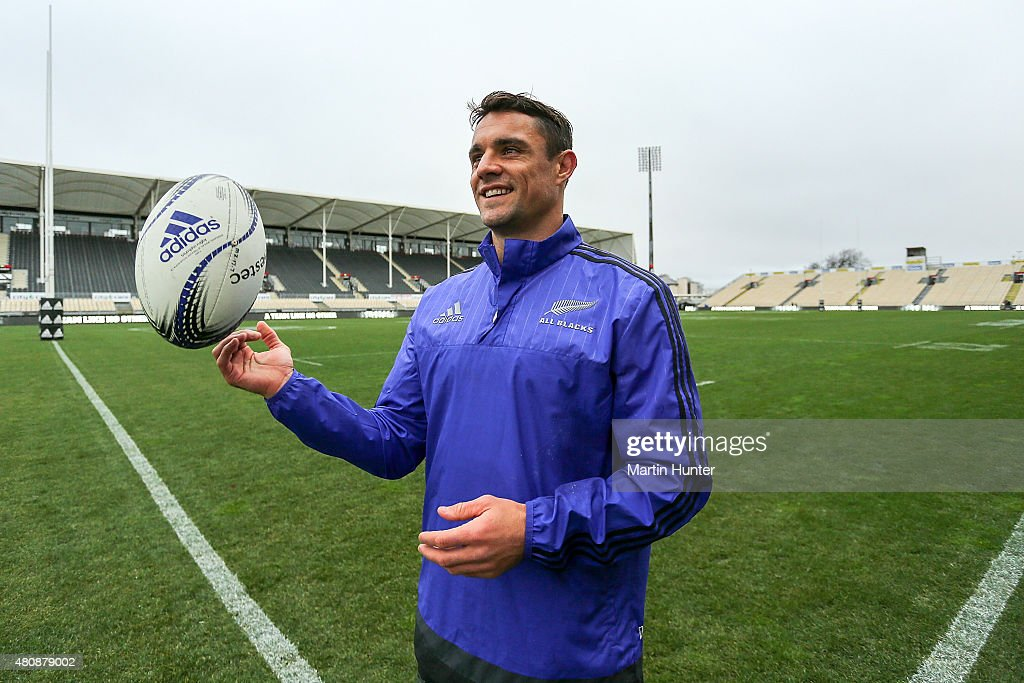 <a gi-track='captionPersonalityLinkClicked' href=/galleries/search?phrase=Dan+Carter+-+Rugby+Player&family=editorial&specificpeople=171299 ng-click='$event.stopPropagation()'>Dan Carter</a> poses following the New Zealand All Blacks Captain's Run at AMI Stadium on July 16, 2015 in Christchurch, New Zealand.