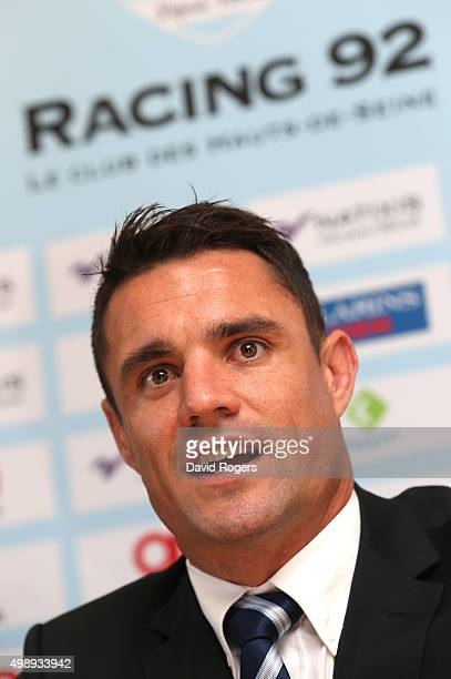 Dan Carter the former New Zealand All Black and now Racing 92's new signing faces the media at the Racing 92 training ground on November 27 2015 in...