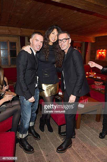 Dan Caten Afef Jnifen and Dean Caten attend the private dinner Host Dean and Dan Caten of Dsquared2 at Dracula's Club in St Moritz on February 8 2014...