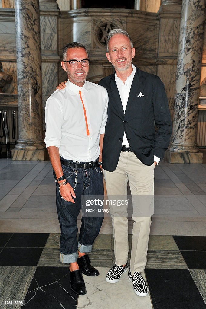 Dan Caten and Patrick Cox attend the Club To Catwalk: London Fashion In The 1980's exhibition at Victoria & Albert Museum on July 8, 2013 in London, England.