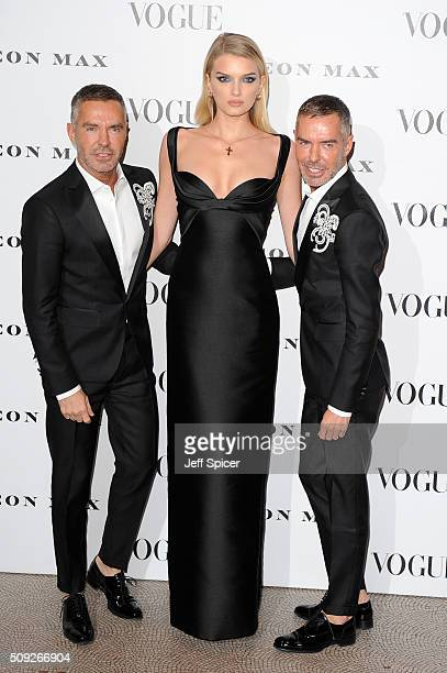 Dan Caten Lily Donaldson and Dean Caten attend at Vogue 100 A Century of Style at the National Portrait Gallery on February 9 2016 in London England