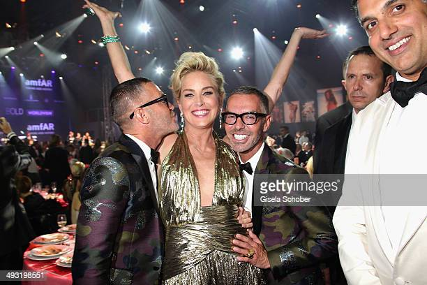 Dan Caten Sharon Stone and Dean Caten attend amfAR's 21st Cinema Against AIDS Gala Presented By WORLDVIEW BOLD FILMS And BVLGARI at Hotel du...