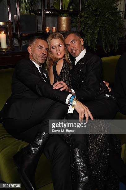 Dan Caten Toni Garrn and Dean Caten attend the Warner Music Group Ciroc Vodka Brit Awards after party at Freemasons Hall on February 24 2016 in...