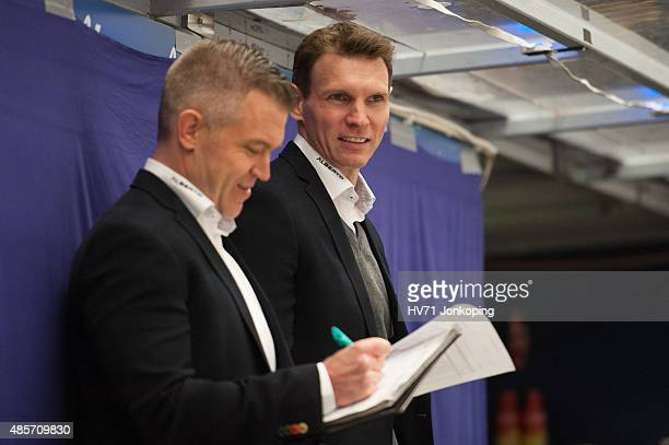 Dan Ceman coach headcoach of Sonderjyske and Chris Straube assistant coach of Sonderjyske during the Champions Hockey League group stage game between...