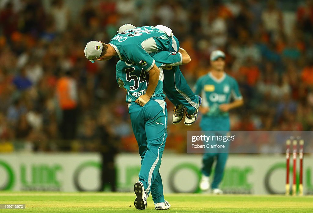 Dan Christian and Chris Lynn of Brisbane Heat celebrate after they defeated the Scorchers in the Big Bash League final match between the Perth Scorchers and the Brisbane Heat at the WACA on January 19, 2013 in Perth, Australia.