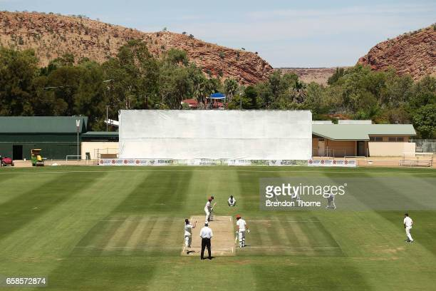 Dan Christian of the Bushrangers bowls during the Sheffield Shield final between Victoria and South Australia on March 28 2017 in Alice Springs...