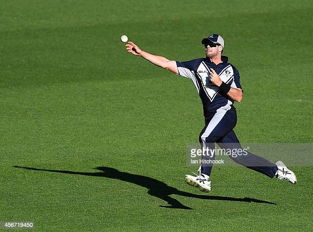 Dan Christian of the Bushrangers throws the ball back to the bowlers end during the Matador BBQs One Day Cup match between Victoria and South...