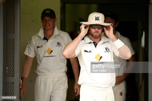 Dan Christian of the Bushrangers walks out of the changerooms to take the field during the Sheffield Shield match between Victoria and Western...