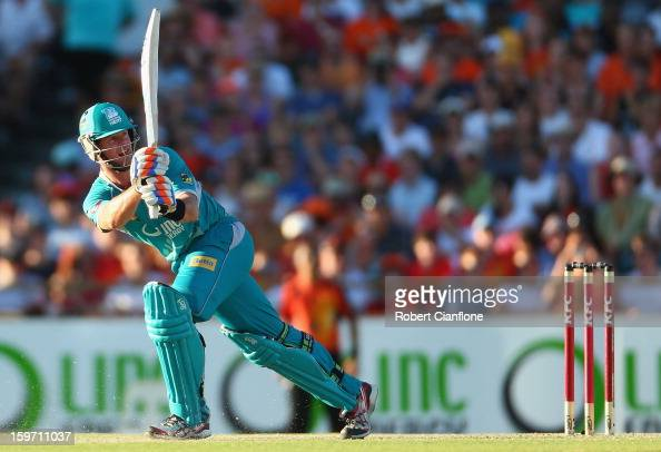 Dan Christian of the Heat bats during the Big Bash League final match between the Perth Scorchers and the Brisbane Heat at the WACA on January 19...