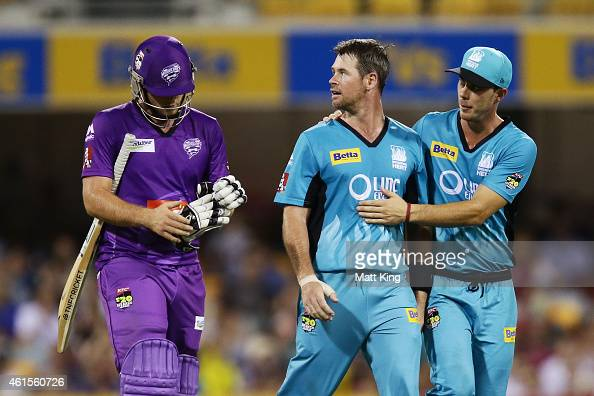 Dan Christian of the Heat celebrates taking the wicket of Michael Hill of the Hurricanes during the Big Bash League match between the Brisbane Heat...