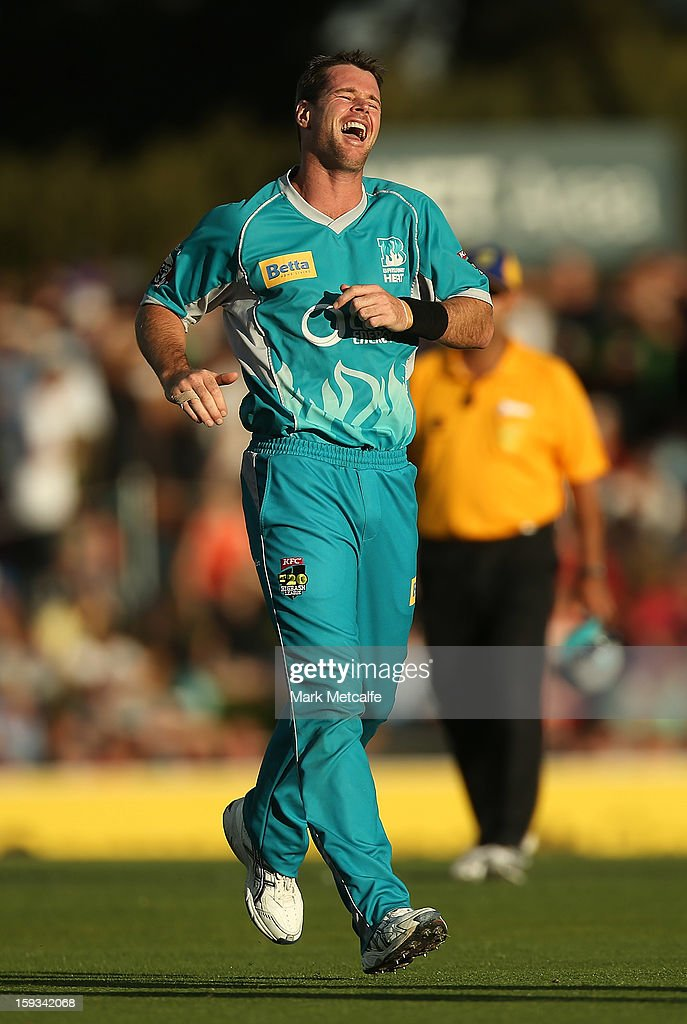 Dan Christian of the Heat celebrates taking the wicket of Travis Birt of the Hurricanes during the Big Bash League match between the Hobart Hurricanes and the Brisbane Heat at Blundstone Arena on January 12, 2013 in Hobart, Australia.
