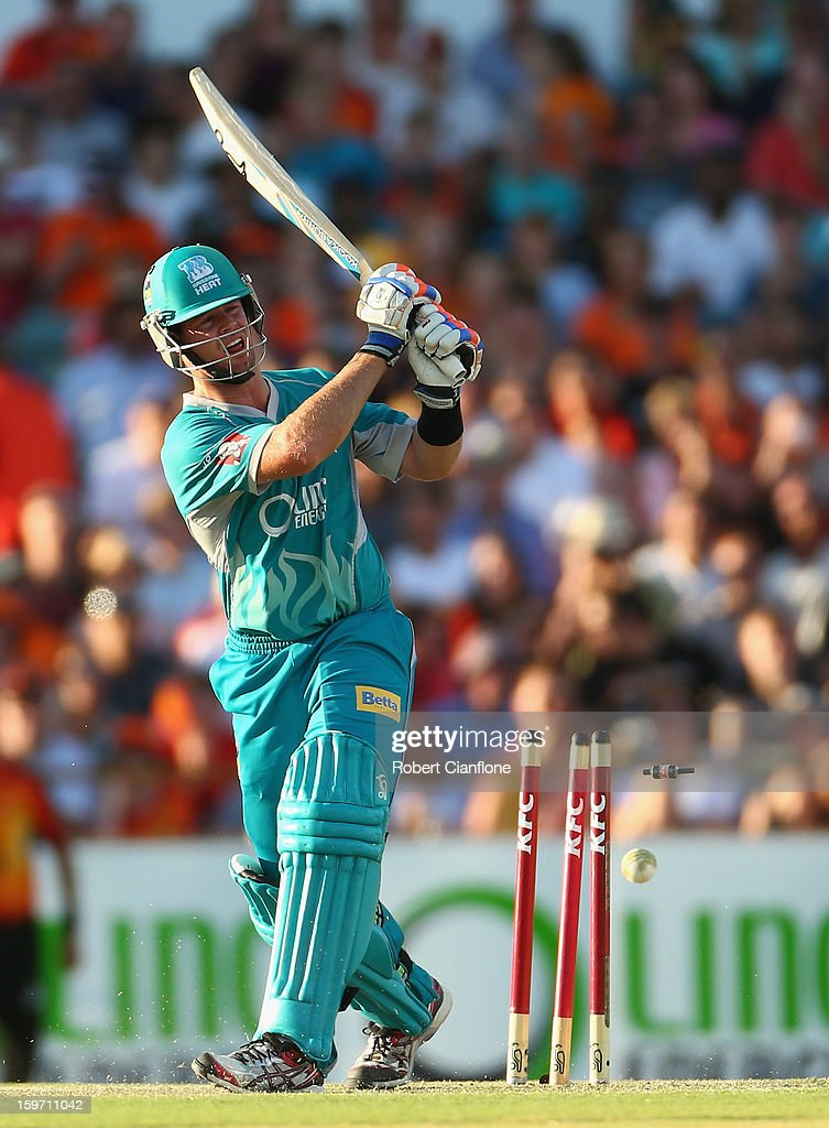 Dan Christian of the Heat is bowled by Nathan Coulter-Nile of the Scorchers during the Big Bash League final match between the Perth Scorchers and the Brisbane Heat at the WACA on January 19, 2013 in Perth, Australia.