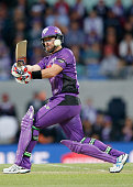 Dan Christian of the Hobart Hurricanes bats during the Big Bash League match between the Hobart Hurricanes and the Melbourne Renegades at Blundstone...