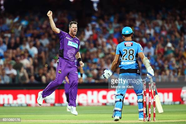 Dan Christian of the Hobart Hurricanes celebrates after getting the wicket of Jake Weatherald of the Adelaide Strikers during the Big Bash League...