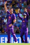 Dan Christian of the Hurricanes appeals for a wicket during the Big Bash League match between the Hobart Hurricanes and the Perth Scorchers at...