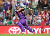 Dan Christian of the Hurricanes bats during the Big Bash League match between Hobart Hurricanes and Brisbane Heat at Blundstone Arena on December 22...