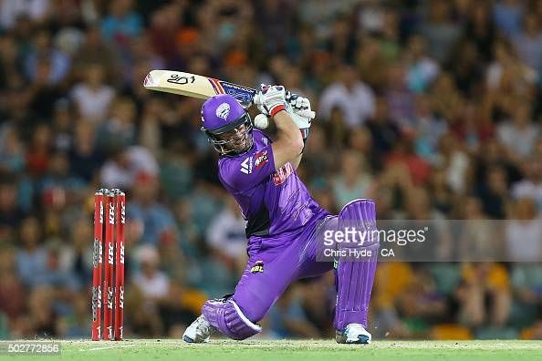 Dan Christian of the Hurricanes bats during the Big Bash League match between the Brisbane Heat and Hobart Hurricanes at The Gabba on December 29...