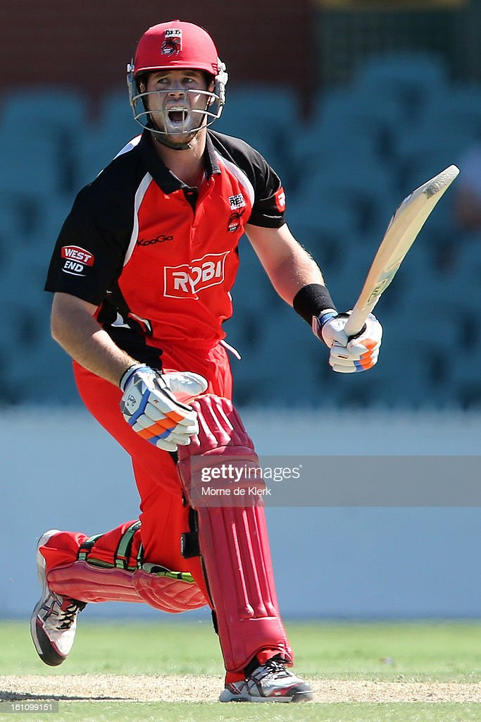 Dan Christian of the Redbacks bats during the Ryobi One Cup Day match between the South Australian Redbacks and the Victorian Bushrangers at Adelaide Oval on February 9, 2013 in Adelaide, Australia.