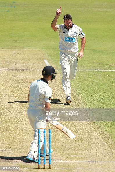 Dan Christian of Victoria celebrates the wicket of Cameron Bancroft of Western Australia during day two of the Sheffield Shield match between Western...