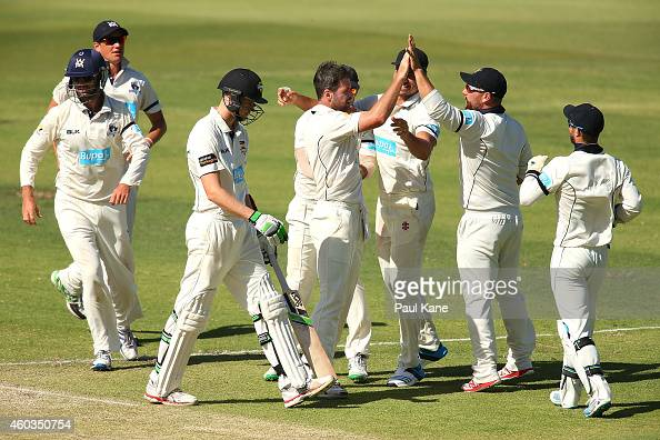 Dan Christian of Victoria celebrates the wicket of Jason Behrendorff of Western Australia during day four of the Sheffield Shield match between...