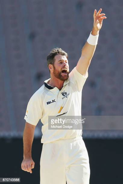 Dan Christian of Victoria unsuccessfully appeals for an LBW during day three of the Sheffield Shield match between Victoria and South Australia at...
