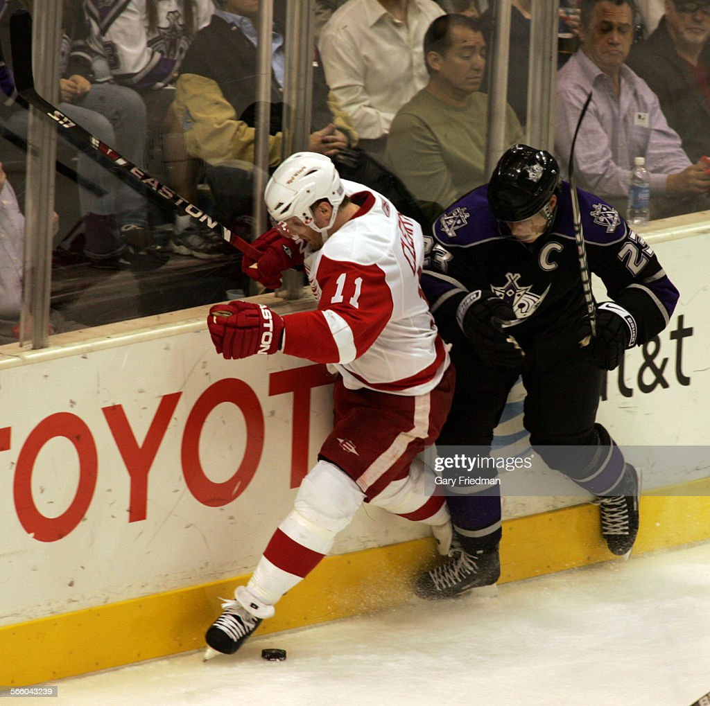 Dan Cleary of the Detroit Red Wings engages Dustin Brown of the Los Angeles Kings on October 27 2008 This is 2nd period action of the hockey game...
