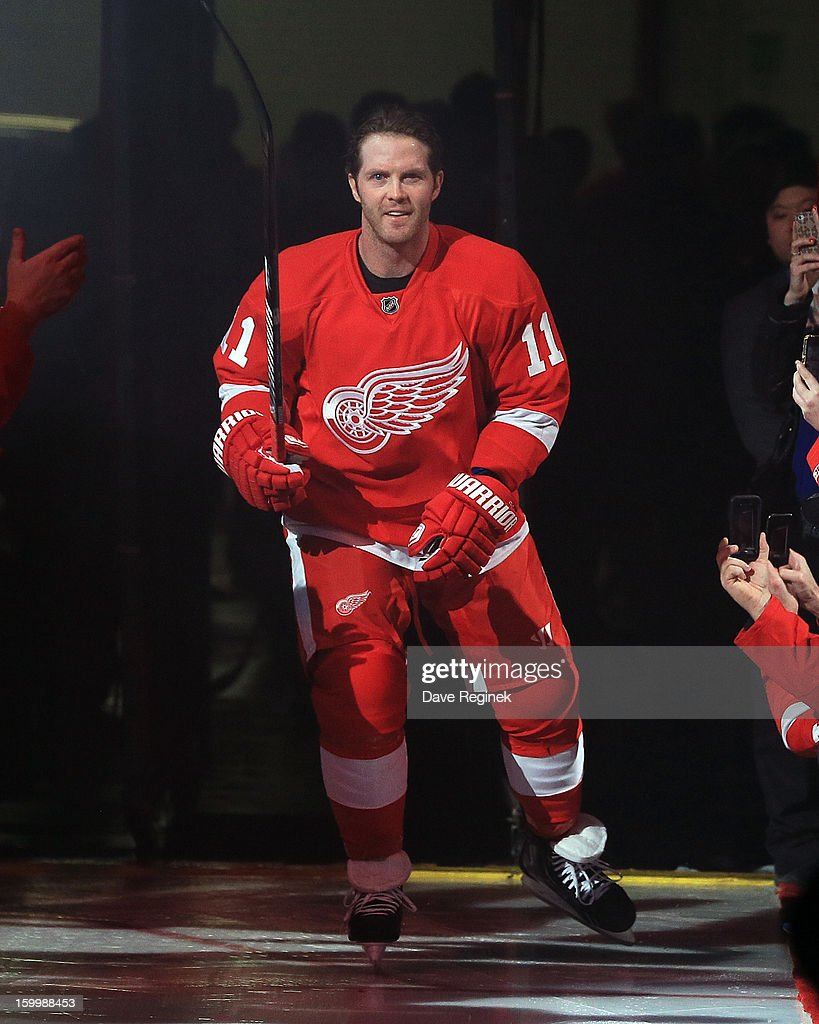 Dan Cleary #11 of the Detroit Red Wings is introduced in pre-game ceramonies before an NHL game against the Dallas Stars at Joe Louis Arena on January 22, 2013 in Detroit, Michigan. Dallas won 2-1