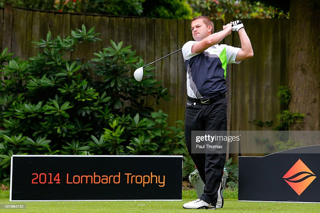 Dan Clee of Evesham Golf Club tees off during The Lombard Trophy Midland Regional Qualifier at Little Aston Golf Club on July 4, 2014 in Sutton Coldfield, England.